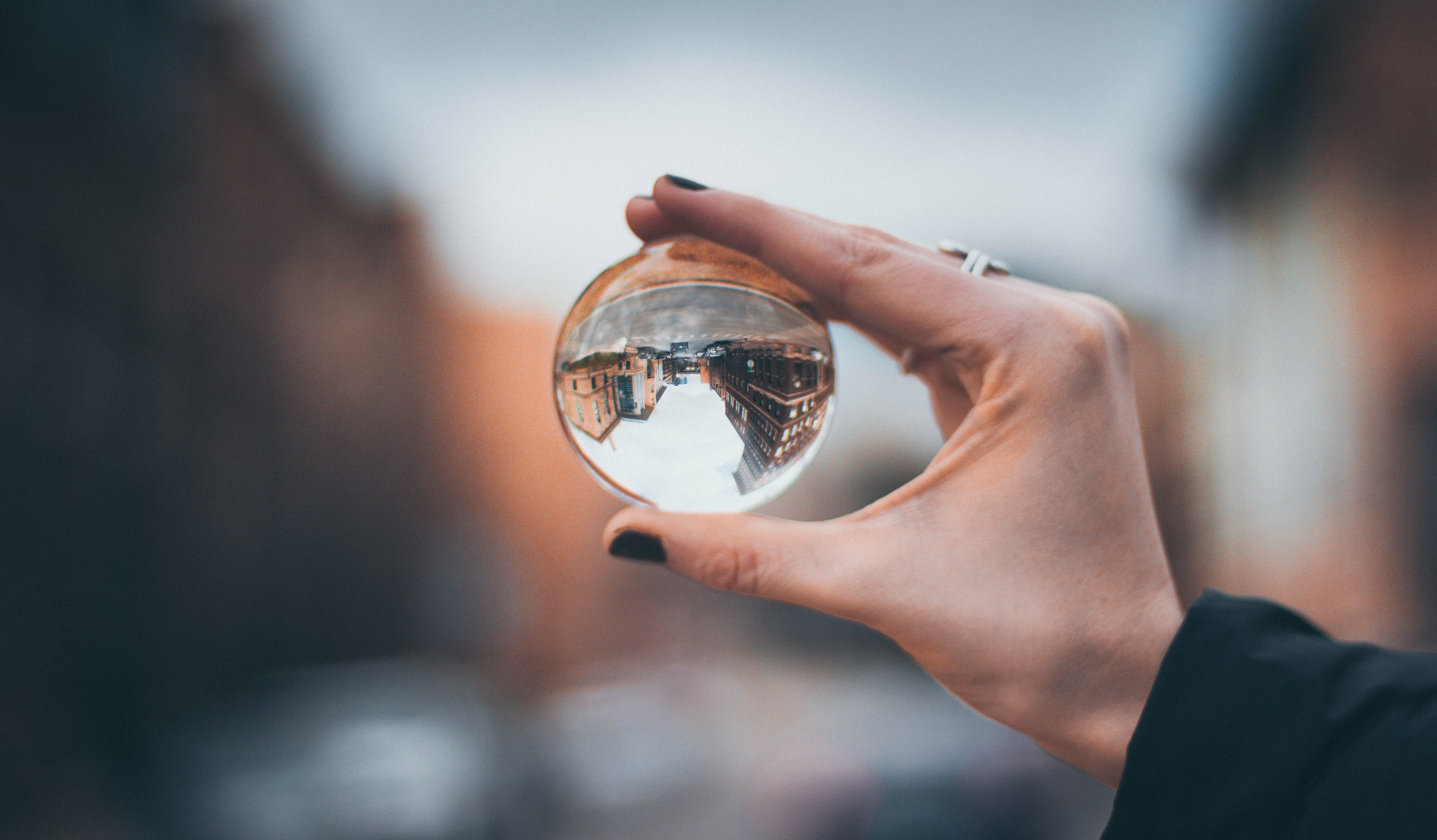 woman with glass orb
